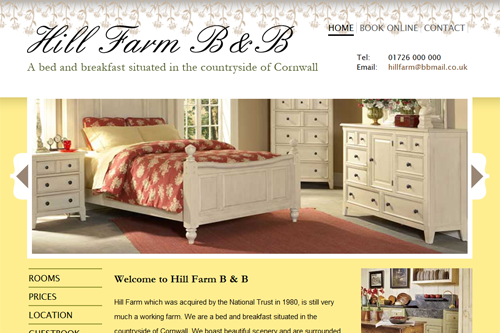 Hill Farm B&B Project - linglau.com - pui-ling lau - web developer and web designer