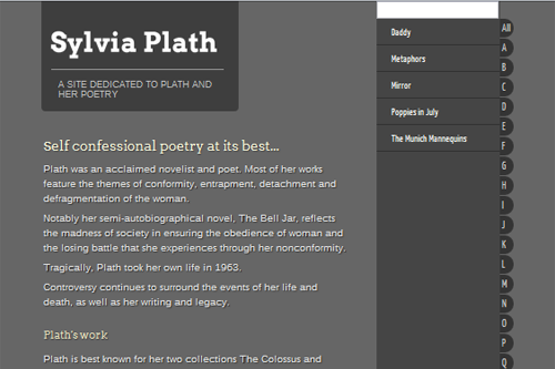 Typographical Project - Sylvia Plath - linglau.com - pui-ling lau - web developer and web designer